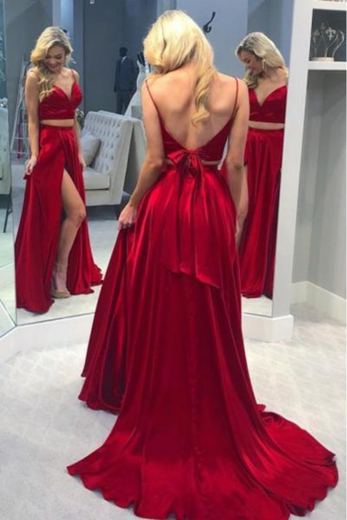 A-Line Long Red Two Pieces Prom Dresses Formal Evening Gowns 6011468