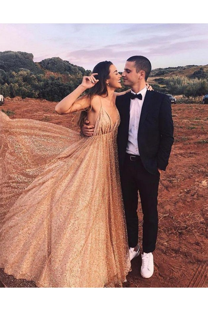 A-Line Sequins Long Prom Dresses Formal Evening Gowns 6011470