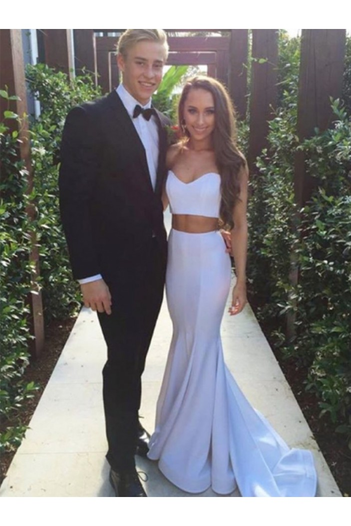 Long White Two Pieces Prom Dresses Formal Evening Gowns 6011474