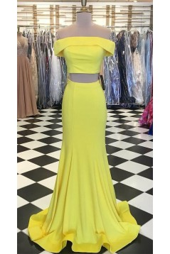 Long Yellow Mermaid Two Pieces Prom Dresses Formal Evening Gowns 6011477