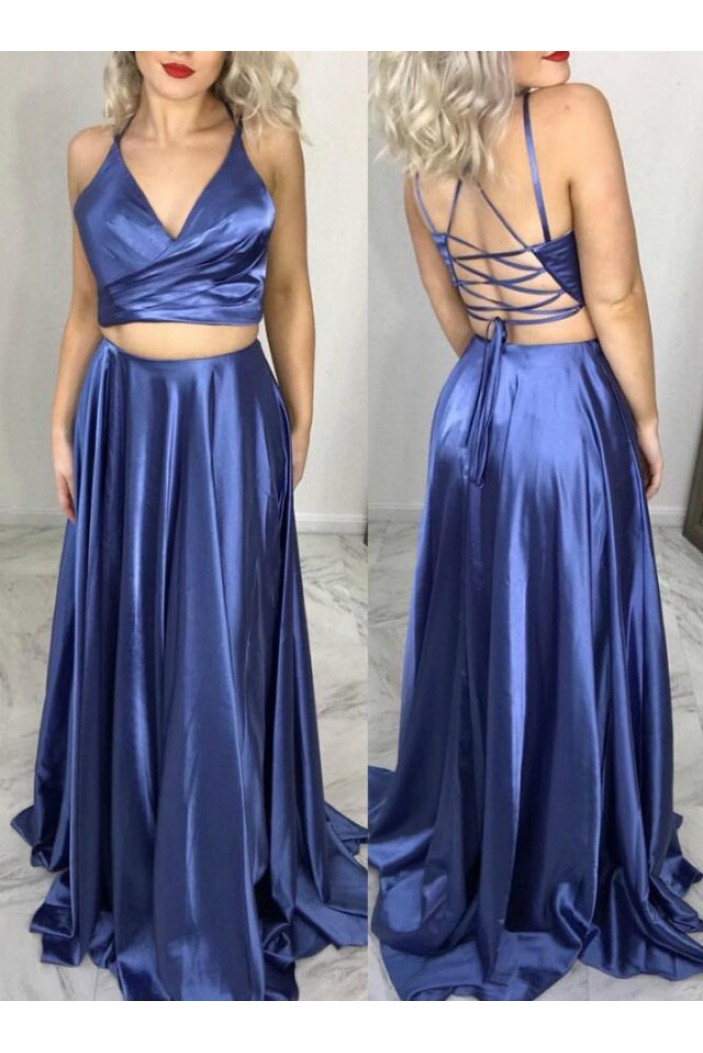 A-Line Two Pieces Long Prom Dresses Formal Evening Gowns 6011478