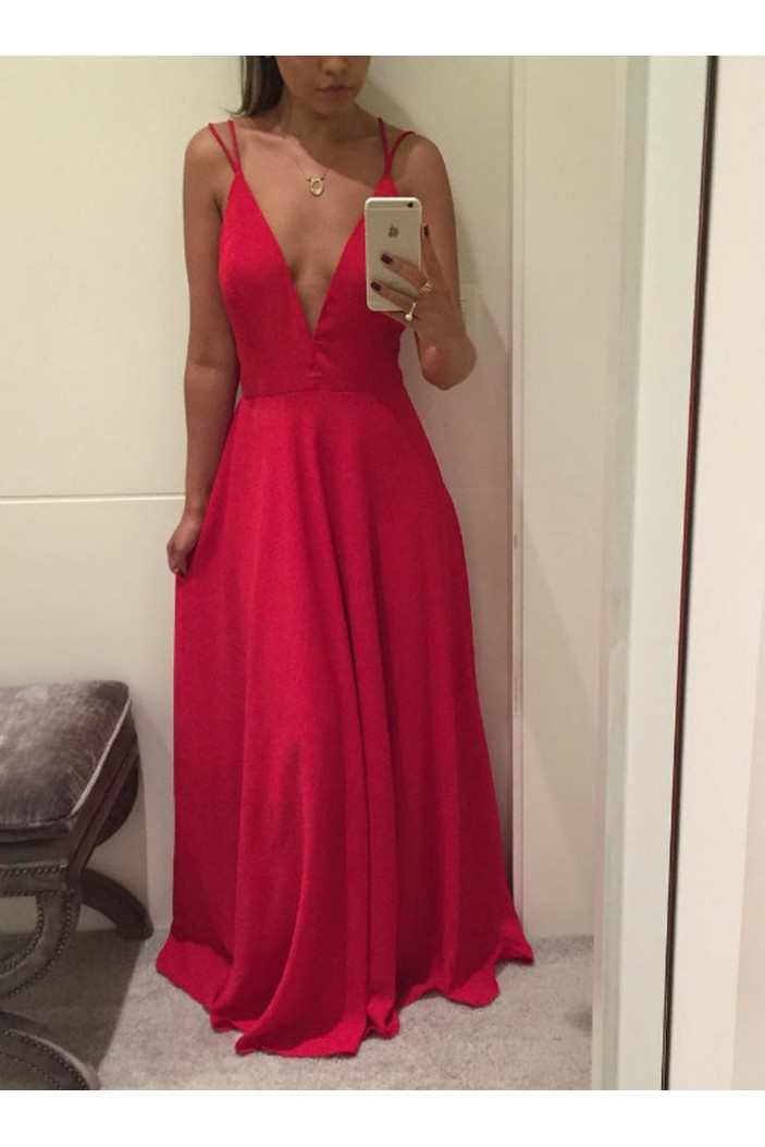 A-Line Long Red V-Neck Prom Dresses Formal Evening Gowns 6011479
