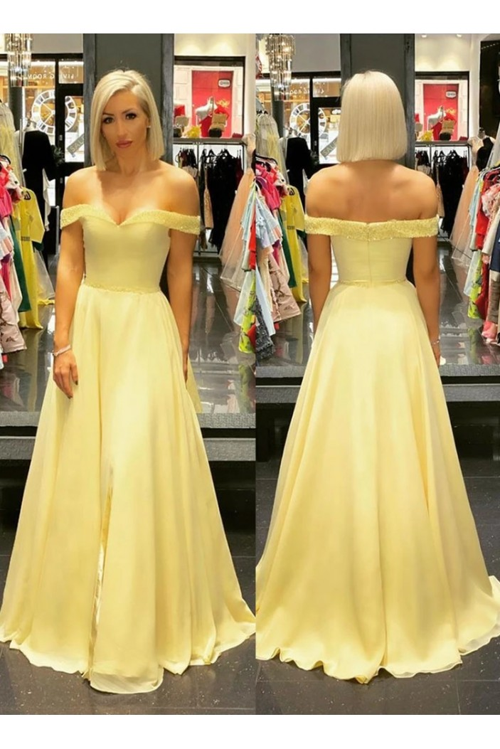 A-Line Beaded Off-the-Shoulder Long Prom Dresses Formal Evening Gowns 6011484