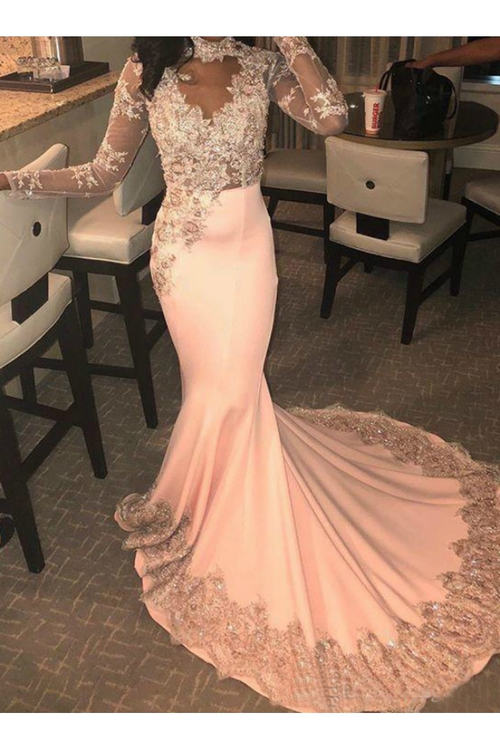 Mermaid Long Sleeves Lace Prom Dresses Formal Evening Gowns 6011487