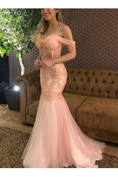 Mermaid Lace Off-the-Shoulder Long Prom Dresses Formal Evening Gowns 6011489