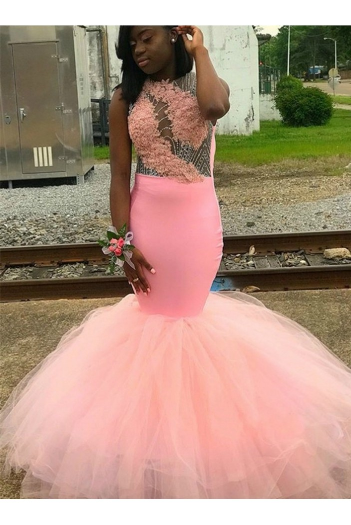 Mermaid Lace Beaded Long Prom Dresses Formal Evening Gowns 6011493