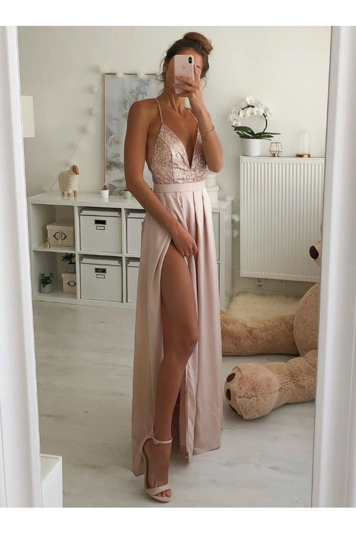 A-Line V-Neck Long Prom Dresses Formal Evening Gowns 6011497