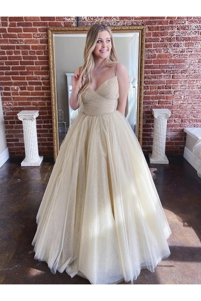 A-Line Tulle Long Prom Dresses Formal Evening Gowns 6011498