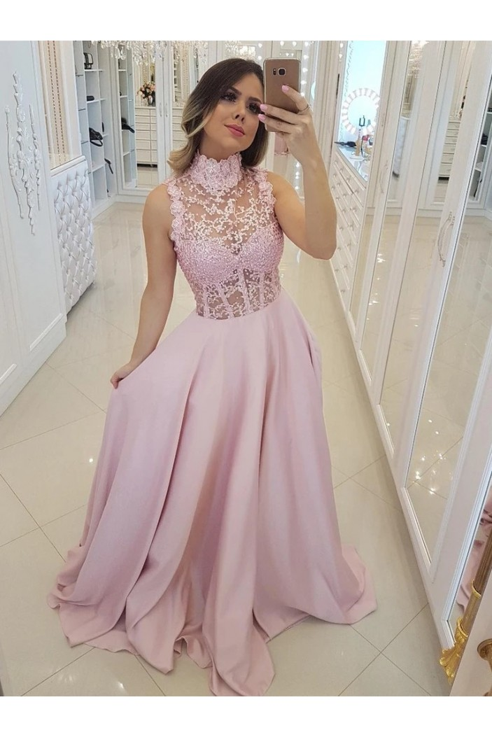 A-Line Beaded Lace Long Pink Prom Dresses Formal Evening Gowns 6011499