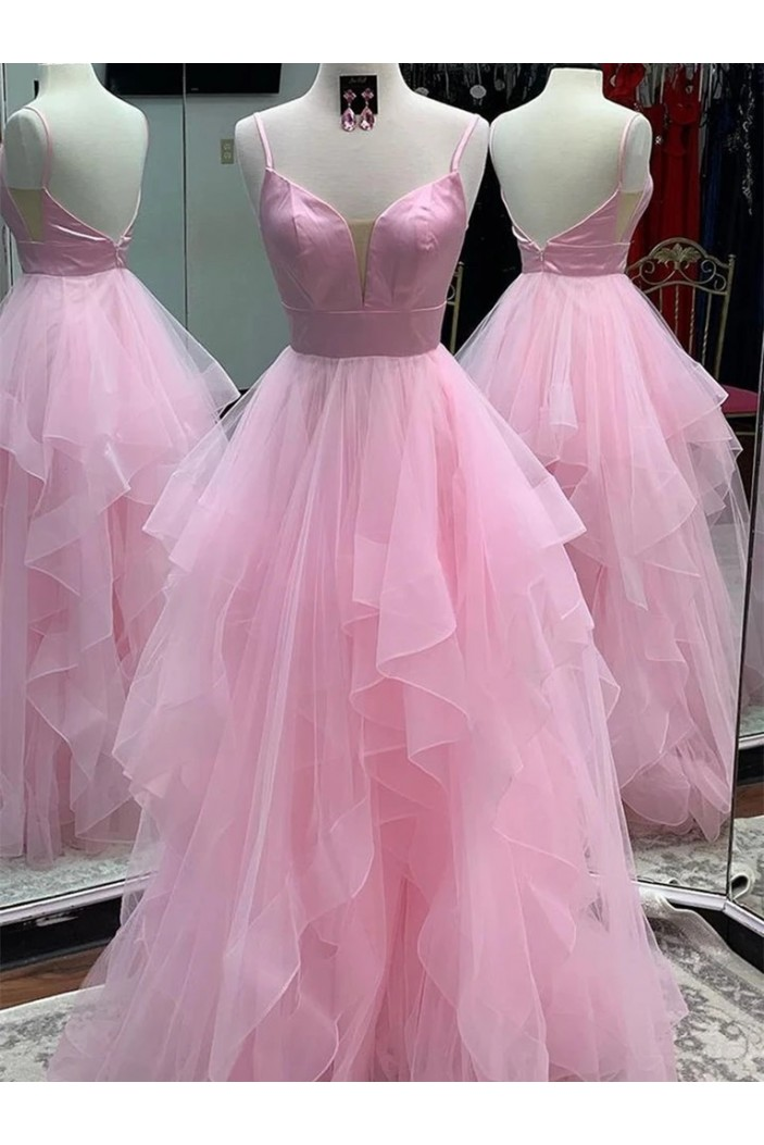 A-Line Long Pink Prom Dresses Formal Evening Gowns 6011501