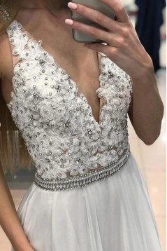 A-Line Beaded V-Neck Long Prom Dresses Formal Evening Gowns 6011502