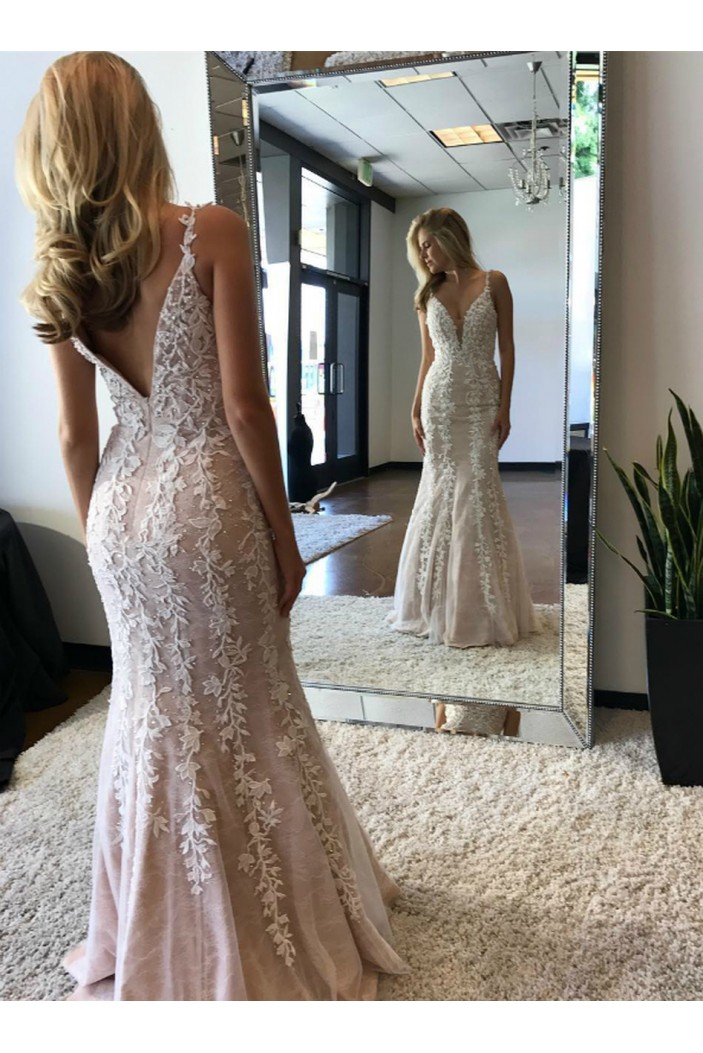 Mermaid Lace Long Prom Dresses Formal Evening Gowns 6011504
