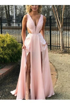 A-Line Beaded Lace Long Prom Dresses Formal Evening Gowns 6011505
