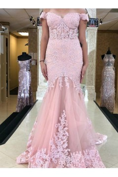Mermaid Lace Off-the-Shoulder Long Prom Dresses Formal Evening Gowns 6011507