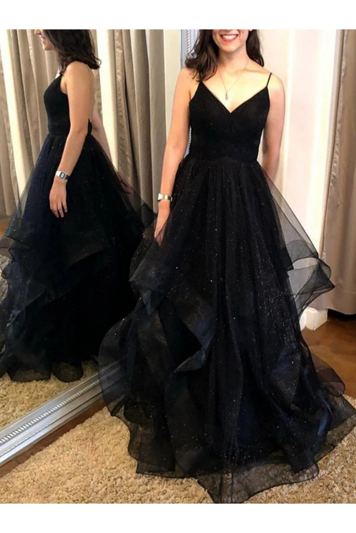 A-Line Sparkle Tulle Long Prom Dresses Formal Evening Gowns 6011511