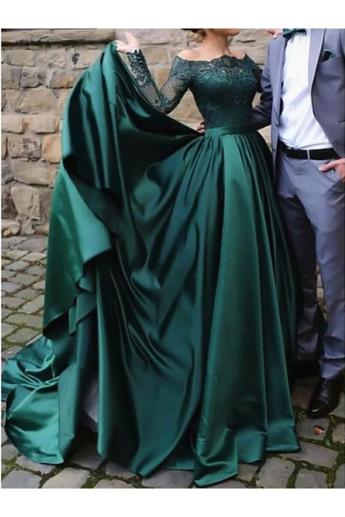 A-Line Long Sleeves Lace Satin Long Prom Dresses Formal Evening Gowns 6011512