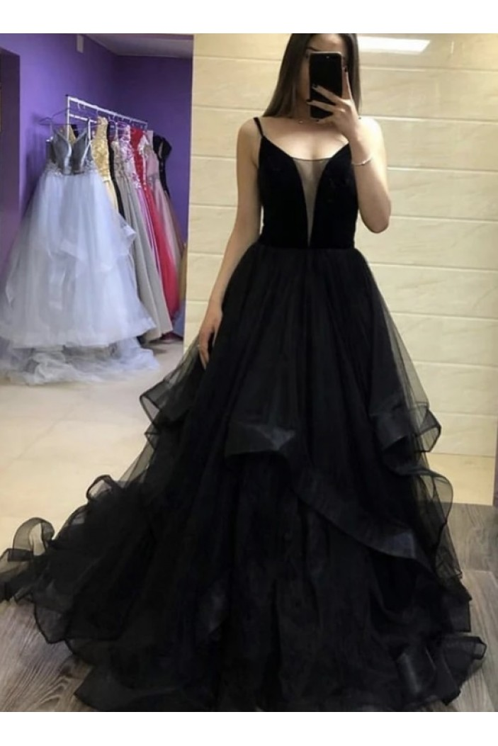 Long Black Tulle Prom Dresses Formal Evening Gowns 6011519