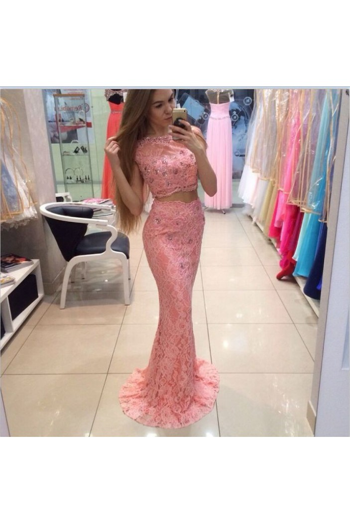 Mermaid Two Pieces Beaded Lace Long Prom Dresses Formal Evening Gowns 6011522