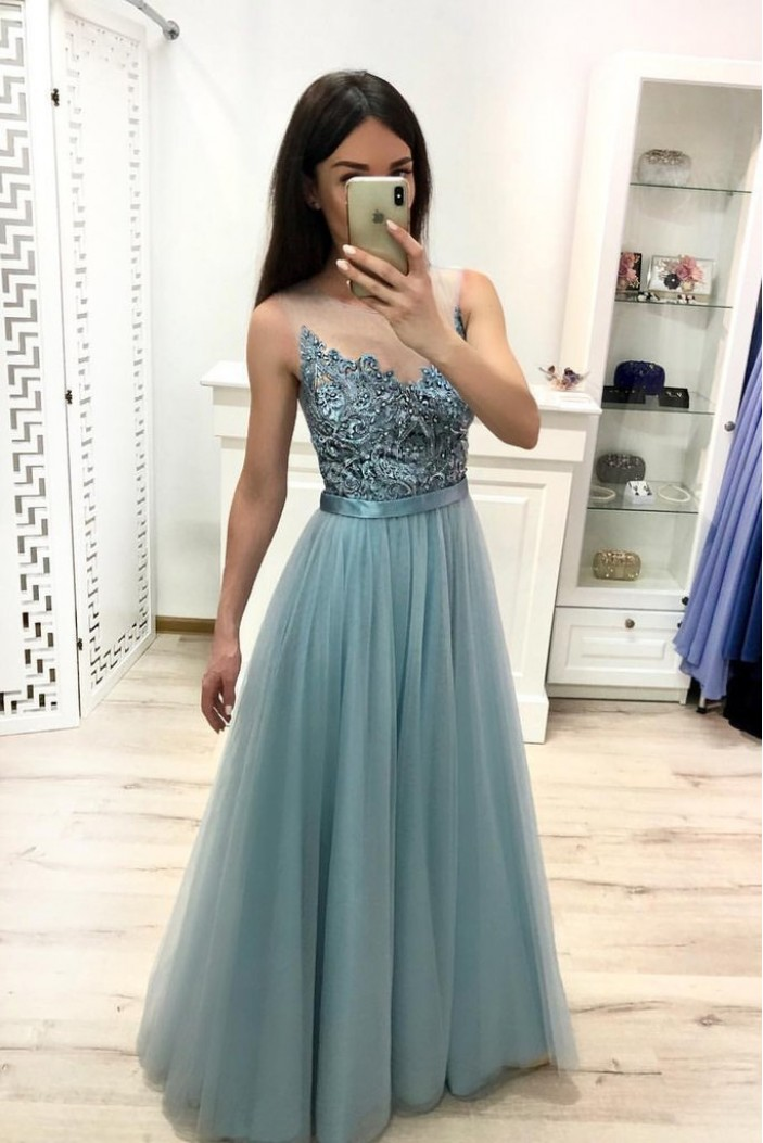 A-Line Beaded Lace Long Prom Dresses Formal Evening Gowns 6011524