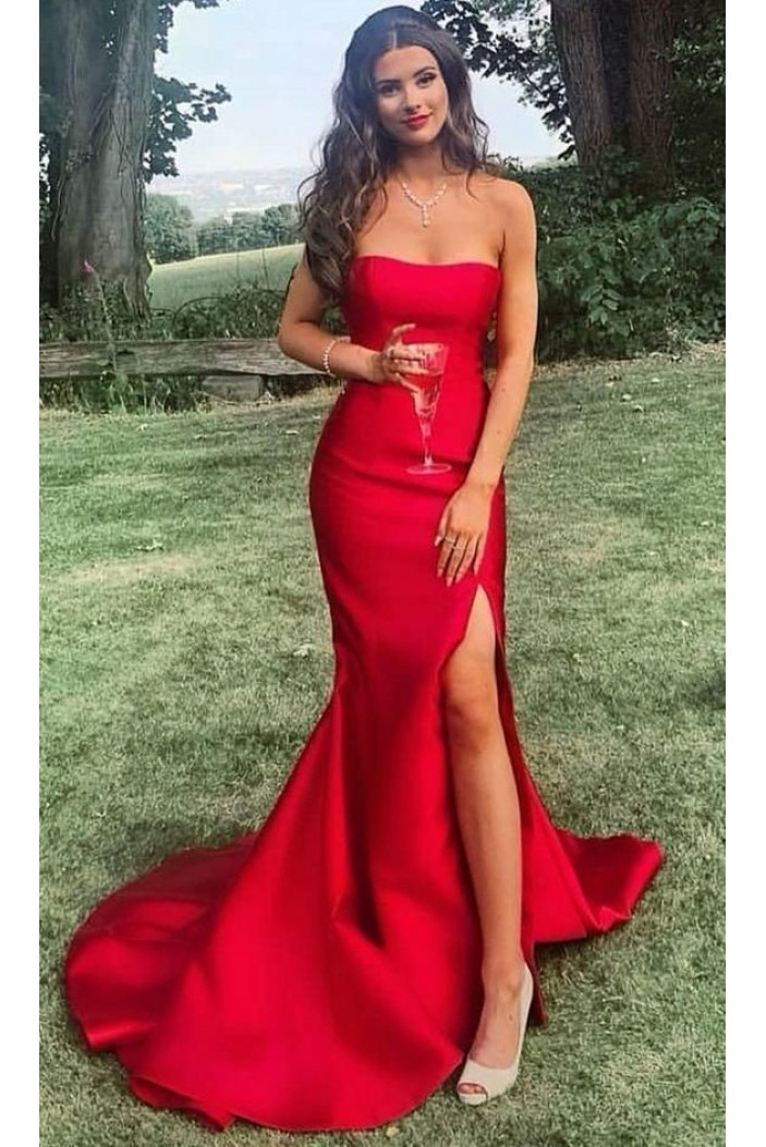 Mermaid Strapless Long Prom Dresses Formal Evening Gowns 6011526