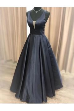 A-Line Long Black V-Neck Prom Dresses Formal Evening Gowns 6011528