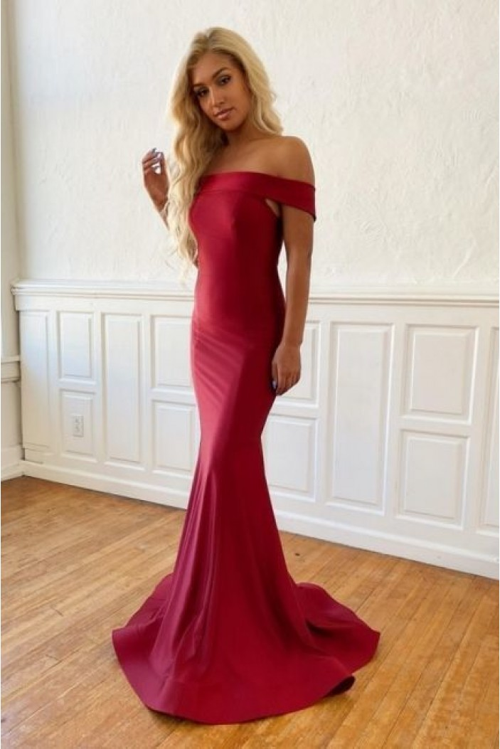 Mermaid Off-the-Shoulder Long Prom Dresses Formal Evening Gowns 6011533