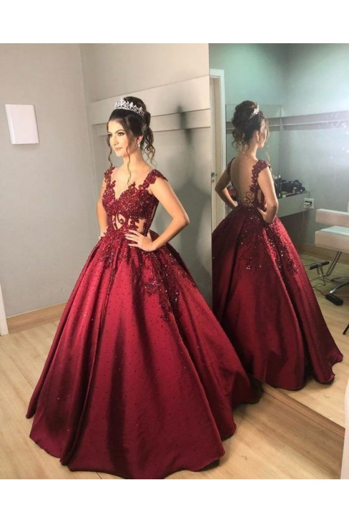 Ball Gown Beaded Lace Long Prom Dresses Formal Evening Gowns 6011534