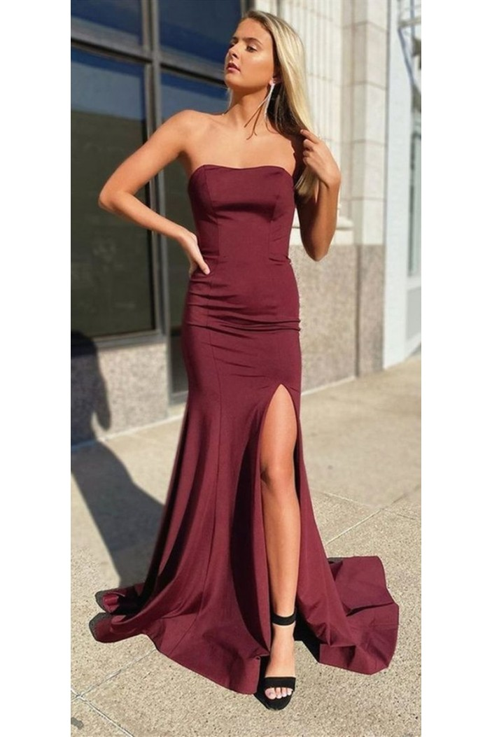 Mermaid Strapless Long Prom Dresses Formal Evening Gowns 6011535