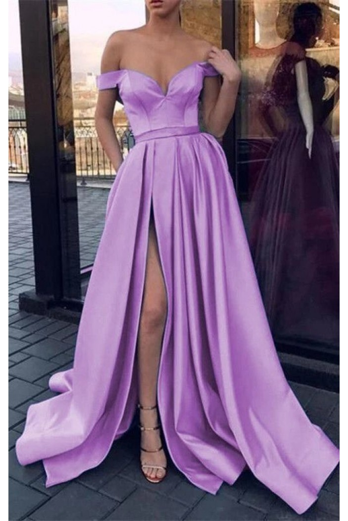 A-Line Off-the-Shoulder Long Prom Dresses Formal Evening Gowns 6011537