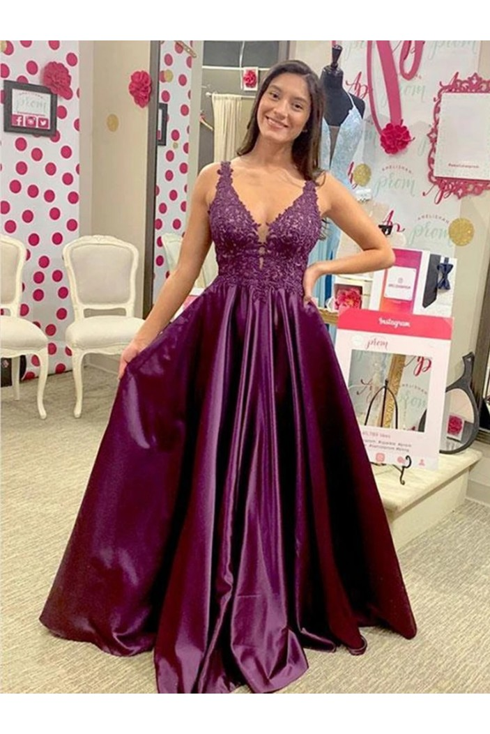 A-Line Lace V-Neck Long Prom Dresses Formal Evening Gowns 6011540