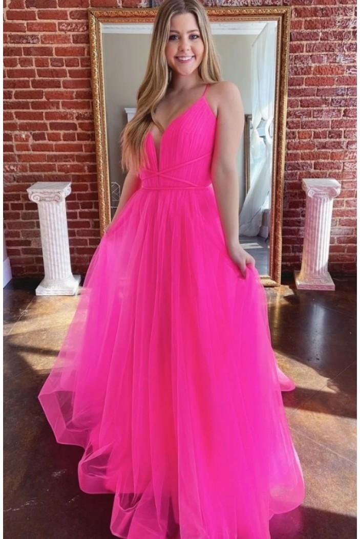 A-Line V-Neck Long Prom Dresses Formal Evening Gowns 6011541