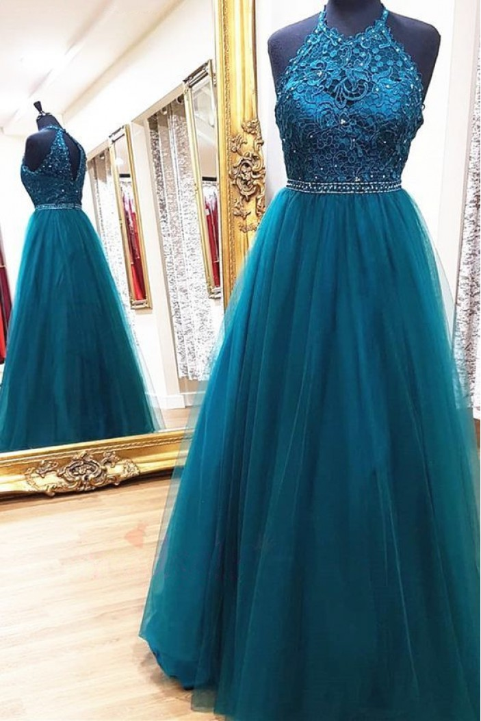A-Line Beaded Lace Tulle Long Prom Dresses Formal Evening Gowns 6011544