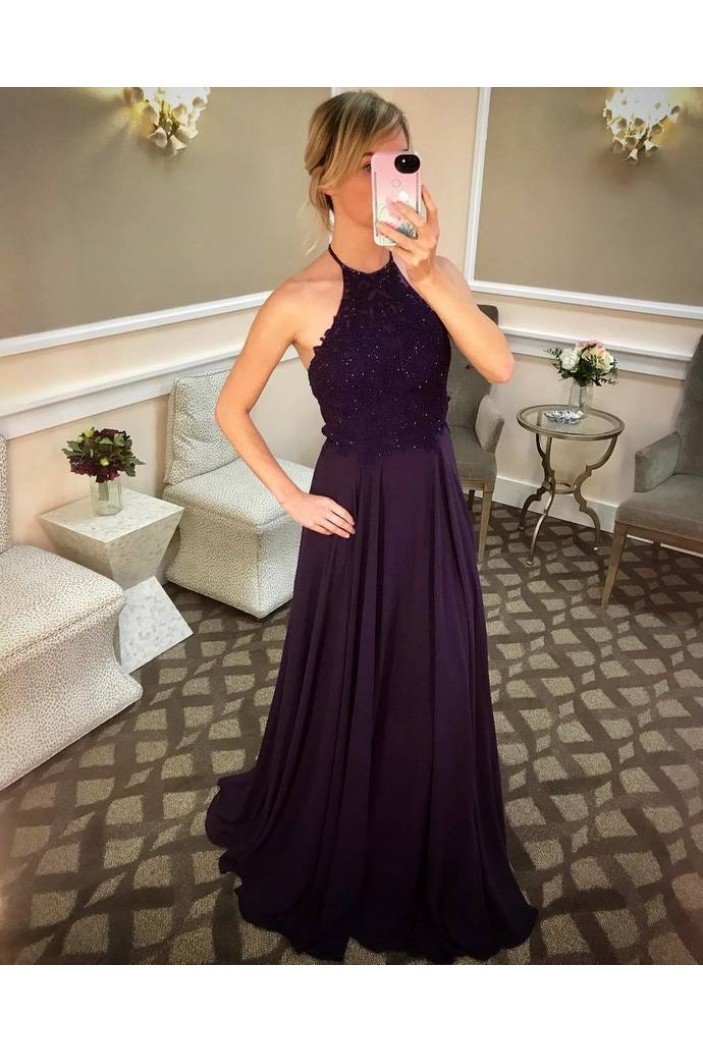 A-Line Beaded Lace Chiffon Long Prom Dresses Formal Evening Gowns 6011549
