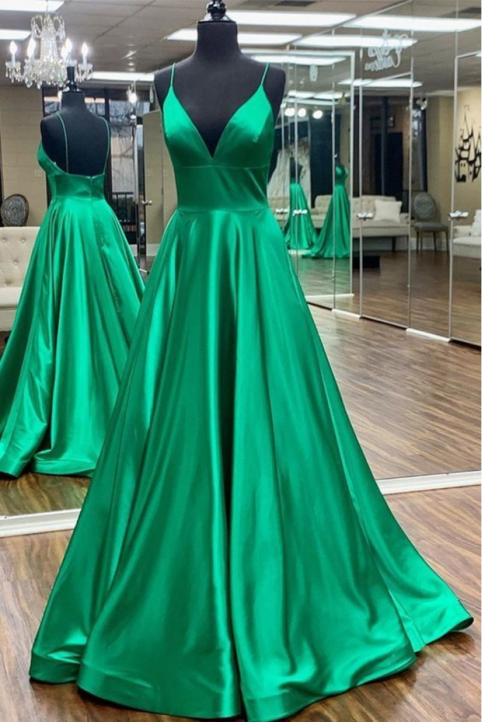 A-Line Long Green Satin Prom Dresses Formal Evening Gowns 6011552
