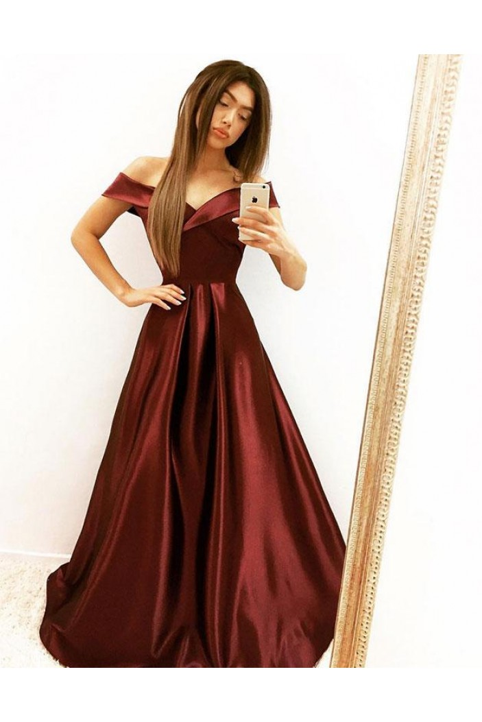 A-Line Satin Off-the-Shoulder Long Prom Dresses Formal Evening Gowns 6011555
