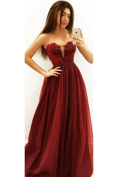 A-Line Beaded Lace Long Prom Dresses Formal Evening Gowns 6011556