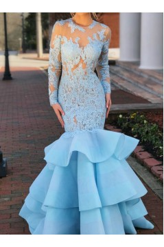 Mermaid Long Sleeves Lace Prom Dresses Formal Evening Gowns 6011560