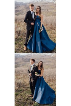 A-Line Strapless Beaded Long Prom Dresses Formal Evening Gowns 6011562