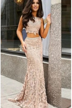 Mermaid Lace Two Pieces Long Prom Dresses Formal Evening Gowns 6011564
