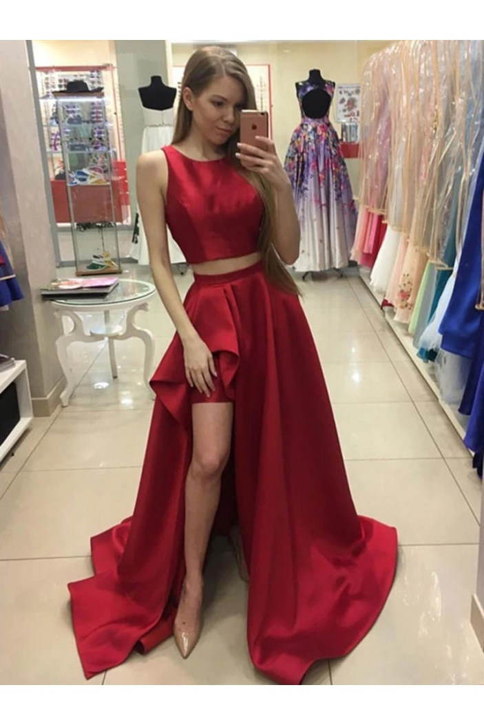 A-Line Two Pieces Long Prom Dresses Formal Evening Gowns 6011565