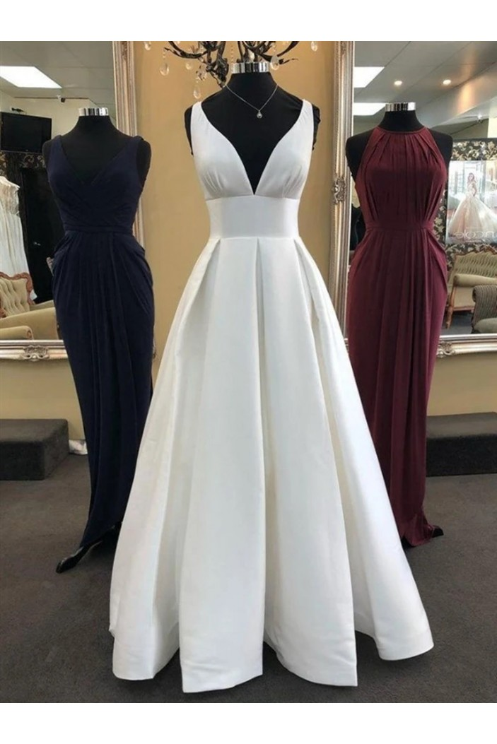 A-Line V-Neck Long Ivory Prom Dresses Formal Evening Gowns 6011566