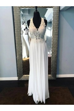 A-Line Lace Appliques Long Prom Dresses Formal Evening Gowns 6011567