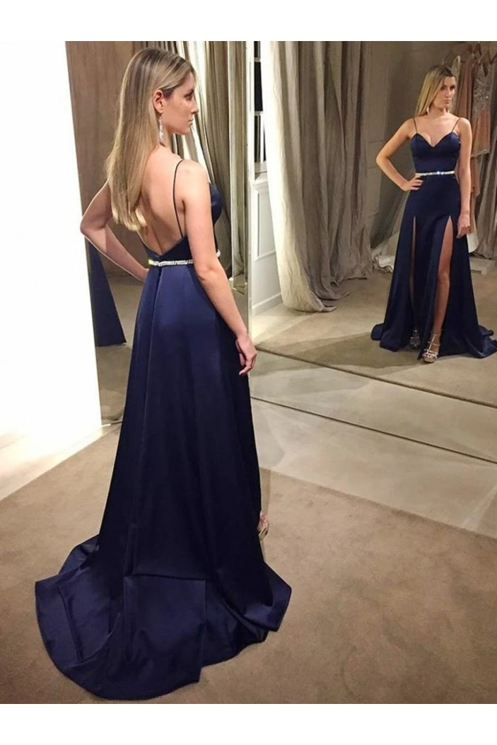 A-Line Beaded Long Prom Dresses Formal Evening Gowns 6011568