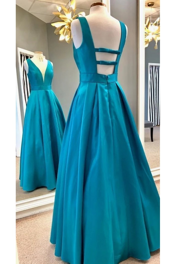A-Line V-Neck Long Prom Dresses Formal Evening Gowns 6011569