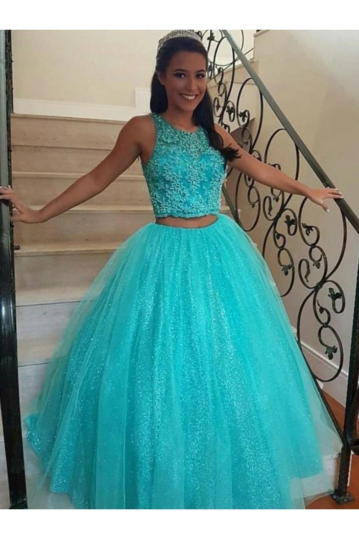 Ball Gown Sequins Two Pieces Long Prom Dresses Formal Evening Gowns 6011570