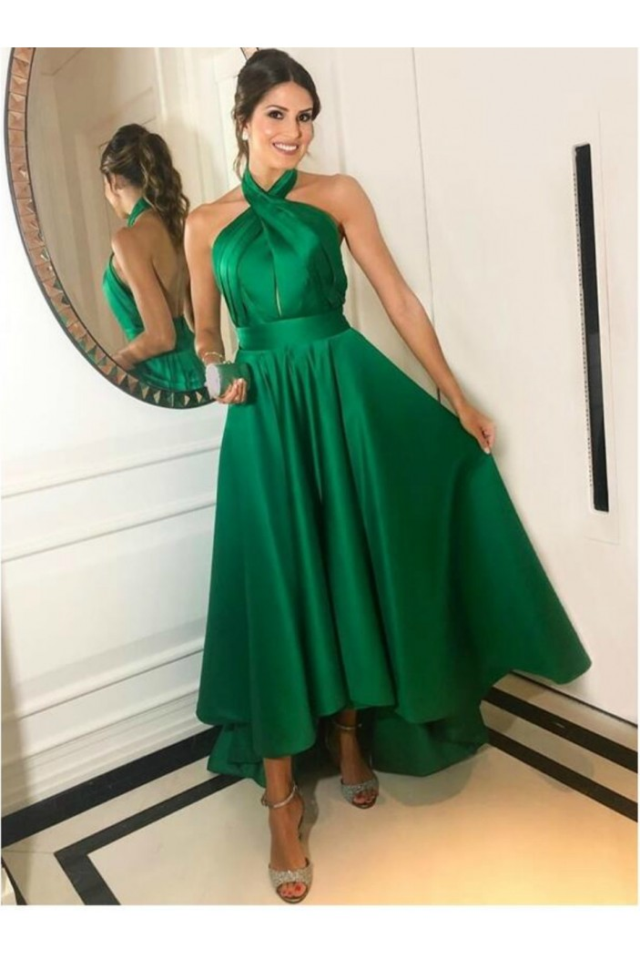 High Low Asymmetrical Long Green Halter Prom Dresses Formal Evening Gowns 6011571