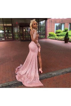 Mermaid Beaded Lace Sequins Sparkle Long Prom Dresses Formal Evening Gowns 6011572
