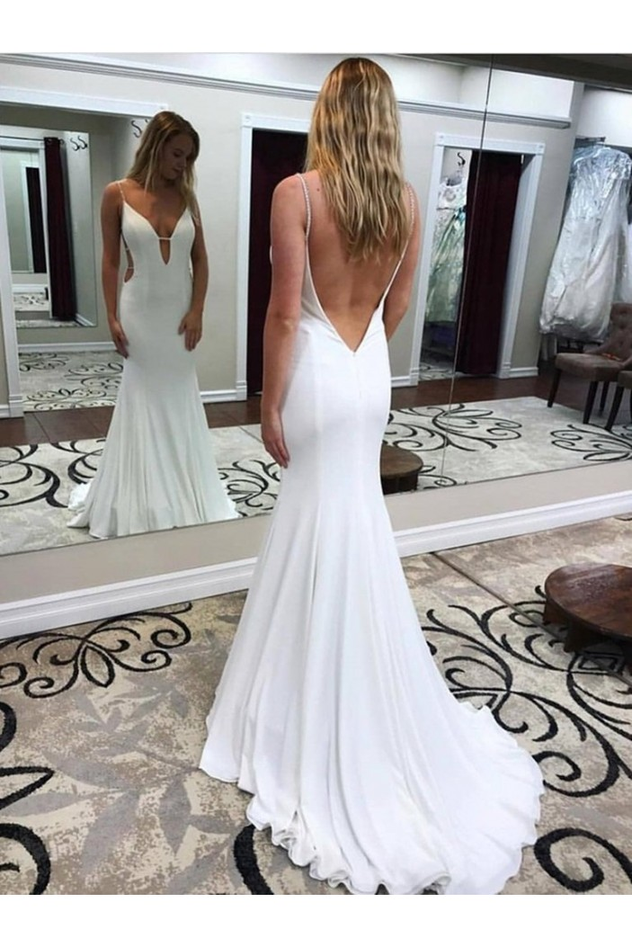 Long White Mermaid Prom Dresses Formal Evening Gowns 6011574