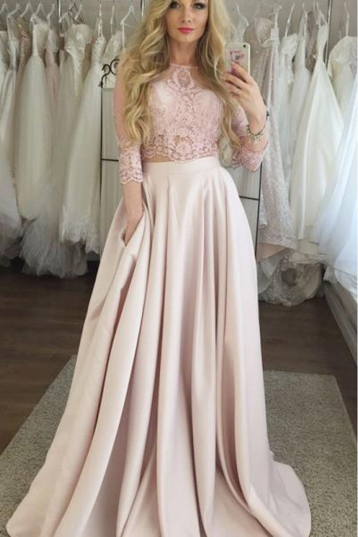 A-Line Lace Satin Two Pieces Long Prom Dresses Formal Evening Gowns 6011577