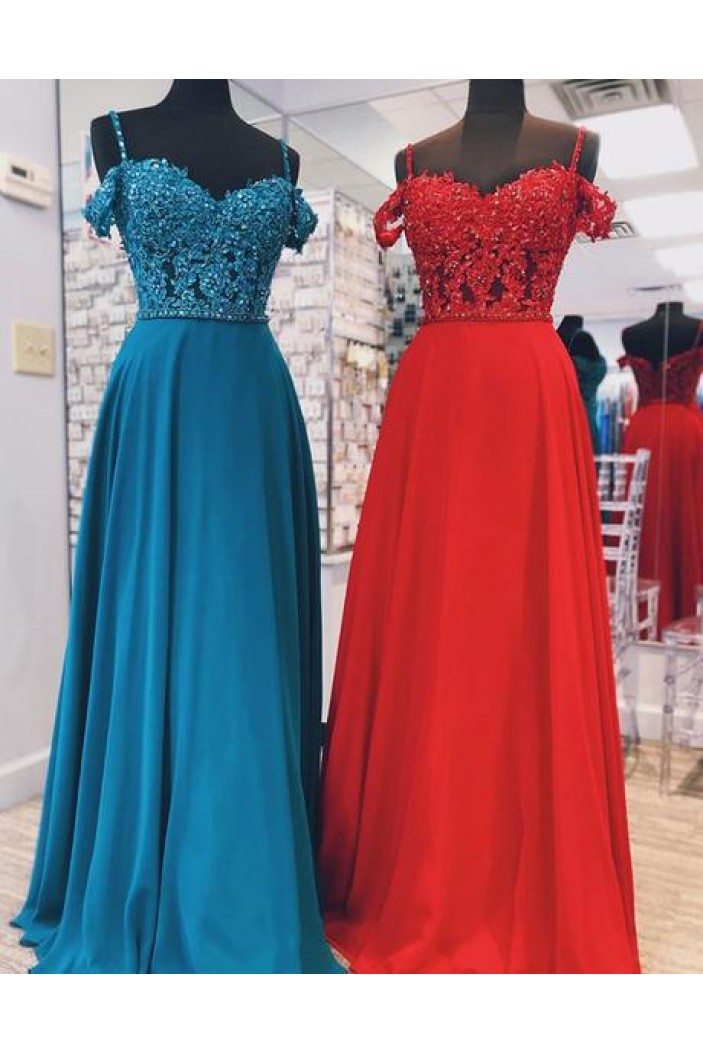 A-Line Beaded Lace Off-the-Shoulder Long Prom Dresses Formal Evening Gowns 6011578